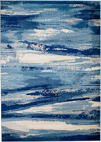 MADISON COLLECTION 408 Modern Abstract Blue Area Clearance Soft and Durable Pile. Size Option , 1'.10' x 2'.11' Scatter Rug Door Mat