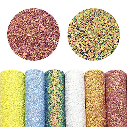David accessories Super Shiny Chunky Glitter Stereoscopic Sequins Faux Leather Sheets Fabric 7 Pcs 7.7 x 12.9 (20cm x 33cm) Thick Canvas Back Craft DIY Craft Assorted Colors (Pure Color)