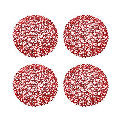 Raybre Art® Napperons de Table Ronde Napperons de Table tissés Dessous de Verre pour Table à Manger 4pcs-Rouge