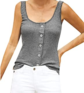 FEDULK Women's Tanks Top Round Neck Sleeveless Button Knitted Tunic Plus Size Blouse Vest S-5XL