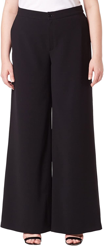 Marina Rinaldi Women's Rematore Wide Leg Trousers, Black, 12W   21