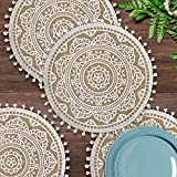 AELS 4pcs Mandala Boho Round Placemats, 16 inches Farmhouse Placemats, Jute Table Mats with Pompoms Tassels, Placemats for Dining Room Kitchen Table Decor