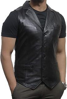 BRANDSLOCK Men Vintage Smart Leather Waistcoat Designer Fit