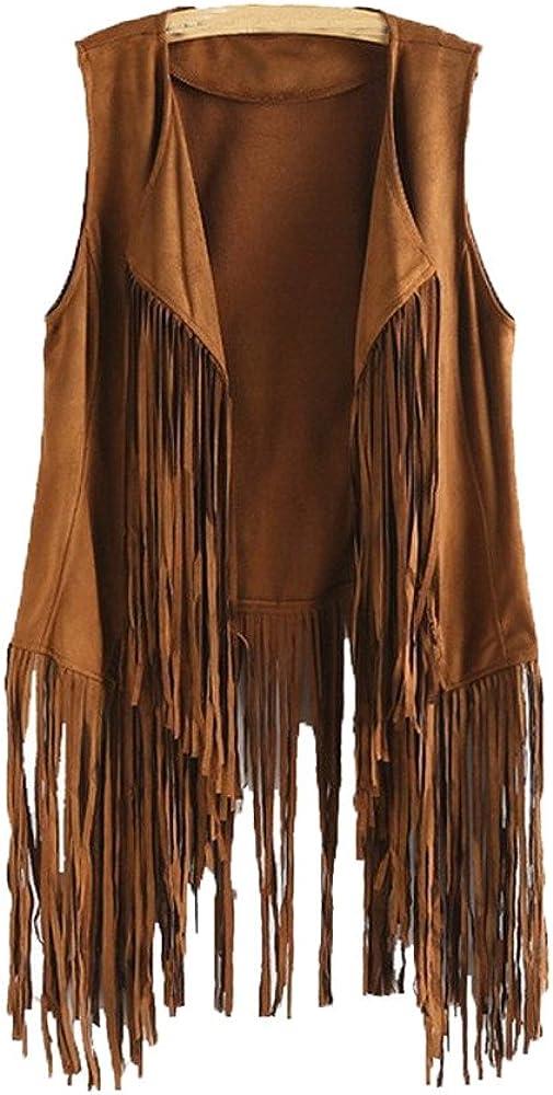 Gillberry Vest for Women Autumn Winter Faux Suede Ethnic Cardigan Sleeveless Tassels Fringe 70S Vintage Vest Cardigans