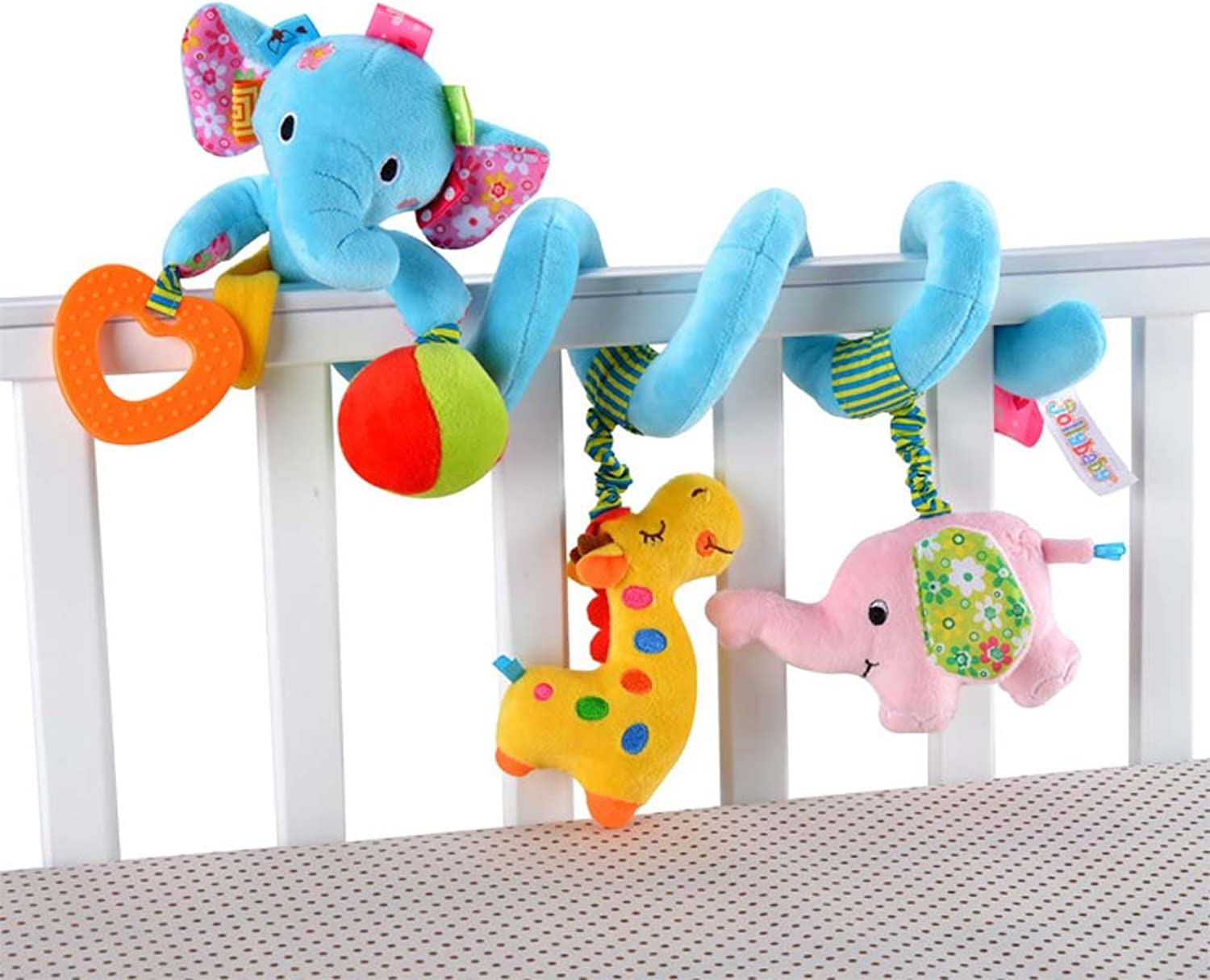 Singring Baby Pram Crib Cute bluee Elephant Design Activity Spiral Plush Toys Stroller and Travel Activity Toy