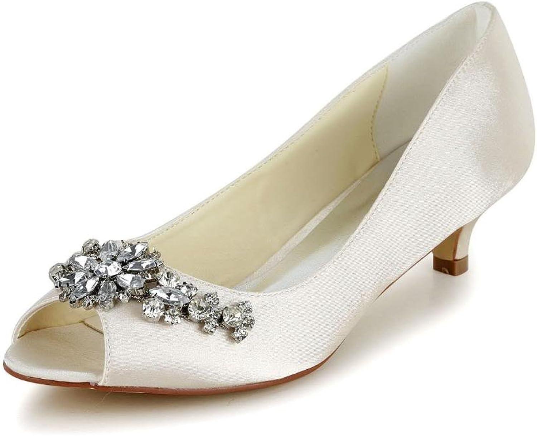 Jia Jia Women's Bridal 01110 Peep Toe Stiletto Heel Satin Wedding shoes