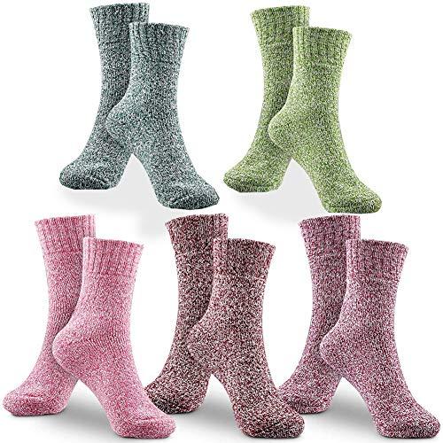 Lana Mujer Calcetines, BETOY 5 Pares Calcetines de lana Calcetines Termicos Mujer Premium Calidad Calcetines Acogedores de Invierno Vintage