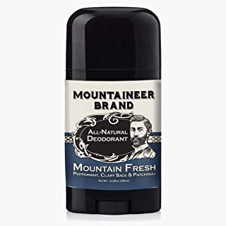 Natural Aluminum-Free Deodorant Stick by Mountaineer Brand | Stay Fresh With Nontoxic Ingredients | 3.25 oz (Mountain Fresh)