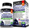 Sambucus Elderberry Capsules with Zinc & Vitamin C - Women & Men's Daily Herbal Supplement for Immune Support, Skin Health - Powerful Antioxidant - Natural Elderberries - Veggie Caps