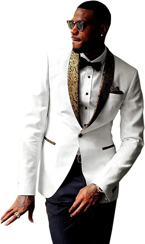 Man Suit 2 Piece Slim Fit Premium Formal Jacquard Gold Paisley Floral Pattern Shawl Lapel Tuxedo Prom Wedding Groom Suits