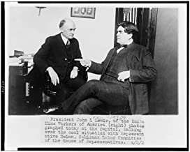 Reproduced 8 x 10 Photo of: President John L. Lewis, of The United Mine Workers of America Right Photographed Today at The Capitol, Talking Over The Coal Situation with Representative Nolan, Chairman