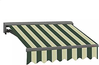 ADVANING 12'X10' Motorized Patio Retractable Awning | Classic Series | Premium Quality, 100% Acrylic UV Sun Shade Awning, Color: Green & Cream Stripes, EA1210-A222H