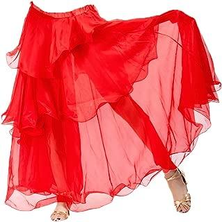 A-Express A-Express Rot Tribal Bauchtanz Rock Tanzrock Chiffon Maxi DREI Schicht Karneval Verrücktes Kleid