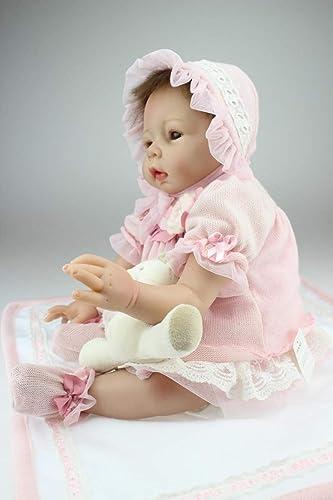 LIDE Kinder Spielzeug Baby Doll Weiße Silikon Vinyl Magnetismus Reborn Babys Puppe offene Augen mädchen Toddler Geburtstag Geschenke 22 Zoll 55cm Neugeborenes