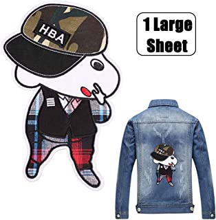Back Embroidered Patch for Kids Non-Adhesive Sew on Applique Cap Boy Sticker for Jackets Jeans T-Shirts Bags Decorations Fashionable Garment Accessory Patch Handmade DIY Craft Repair Holes