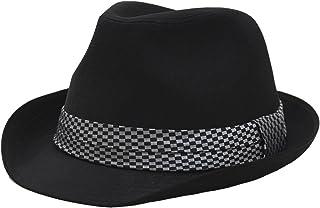 (エクサス)EXAS ブラックボディーチェックリボン中折れハット(透明な帽子置き付き)