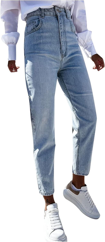 Euone_Clothes Jeans Pant for Women, Women Button High Waist Pocket Elastic Hole Jeans Trousers Slim Denim Pants