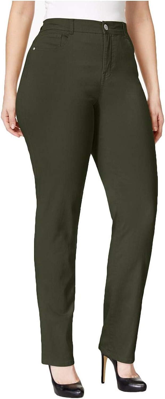 Style & Co. Womens Plus Tummy Control High Rise Slim Leg Jeans Green 16W