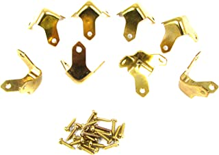 8pc. Small Brass Box & Trunk Corners with Mounting Screws