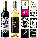 32 Piezas Regalo de Pegatinas o Etiquetas de Botella de Vino de Cumpleaños de 40 Años, Regalos de Hito de 1980 Saludos a 40 Años, para Decoraciones Divertidas de Fiesta de 40 Años de Oro Rosa Negro