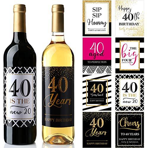 32 Stücke 40. Geburtstag Weinflasche Etiketten oder Aufkleber Vorhanden, 1980 Meilenstein Geschenke Prost auf 40 Jahre, Lustige Vierzig Rosa Schwarzgold Party Dekorationen Lieferungen
