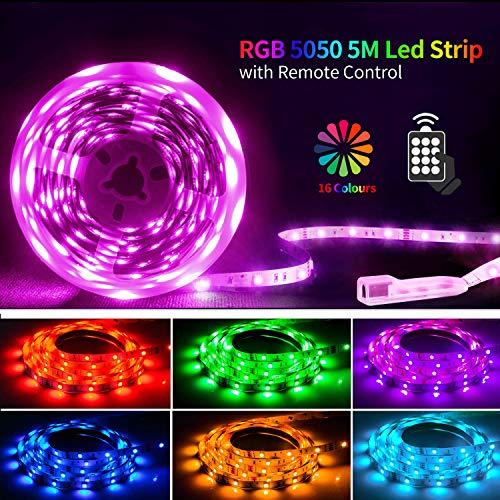 Led Strip 5M Led streifen Led Band SHINELINE SMD 5050 RGB Led Leiste Led Lichterkette mit Fernbedienung und Netzteil Led Beleuchtung Led Lichtband MEHRWEG