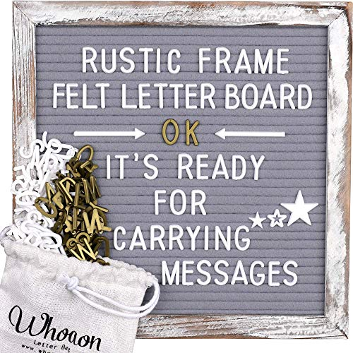 Whitewashed Rustic Wood Frame Gray Felt Letter Board 10x10 inch. Precut White & Gold Letters, Script Cursive Words, Wood Stand, Scissors. Changeable Letter Sign for Rustic Farmhouse Wall Decor. Grey Felt Message Board
