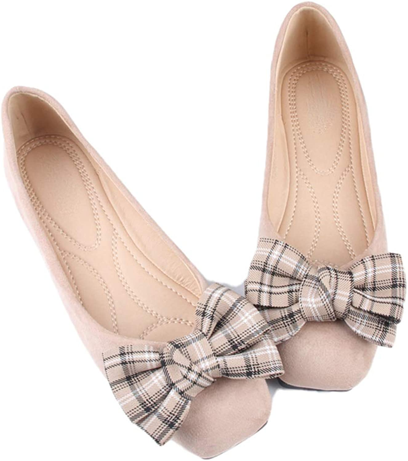 Kyle Walsh Pa Women's Casual Flats shoes Plaid Bowknot Square Toe Female Soft Comfortable Moccasins