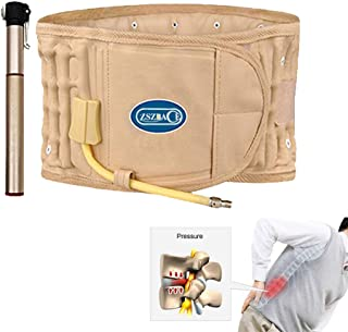 Traction Back Brace- Physio Decompression Back Belt- Inflatable Waist Support Belt- One Size fit for Waist 29-49 Inches- Khaki