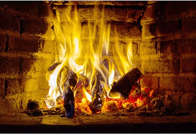 Leowefowa Fireplace with Fire Backdrop 9x6ft Vinyl Photography Backgroud Stone Fireside Burning Firewoods Christmas New Year Backdgroud Winter Festival Children Audlt Photo Studio Props