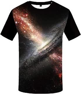 KYKU Unisex Galaxy Space 3D Casual Graphics Summer Short Sleeve Round Neck Top Tee