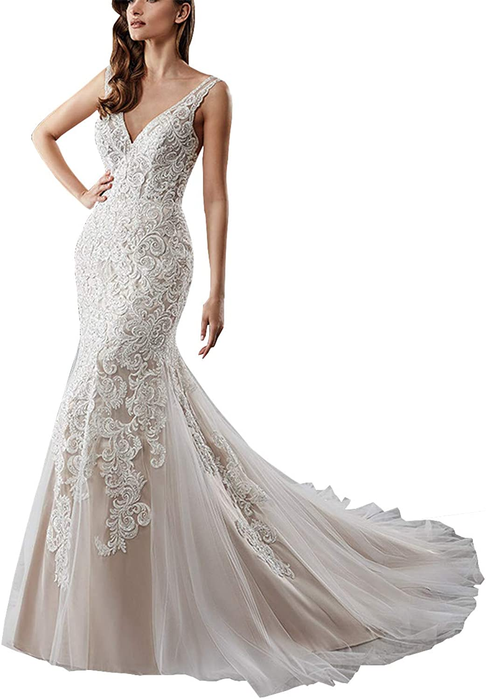 Changjie Women's Sexy VNeck Tulle Lace Applique Mermaid Bridal Wedding Dresses