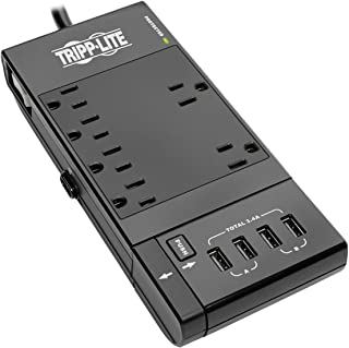 Tripp Lite 6-Outlet Surge Protector Power Strip, 4 USB Charging/Sync Ports, 6ft Cord, $50K Insurance(TLP66USBR)