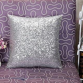 Gysad Set de Cojines de Lentejuelas Blanco Plata Satinado Funda de Almohada decoración del hogar Dormitorio sofá