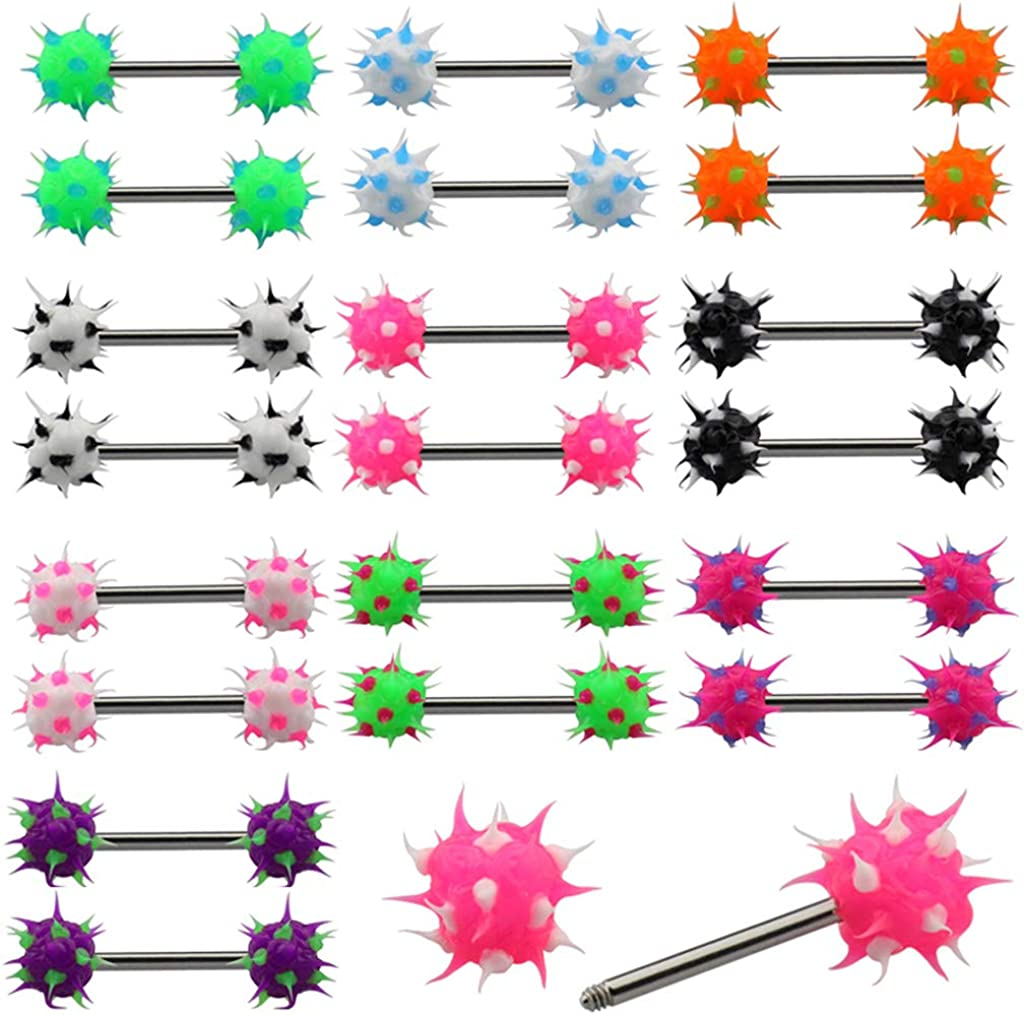 LIZD 14g Soft Silicone Nipple Barbell Tongue Ring Body Piercing Jewelry Mixed 10colors (20pcs/lot)