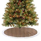 Homesonne Patrón de parquet de mosaico con rombos cuadrados, rayas anguladas, arreglo para fiestas de Año Nuevo hace que tu árbol de Navidad sea más hermoso marrón pálido 122 cm