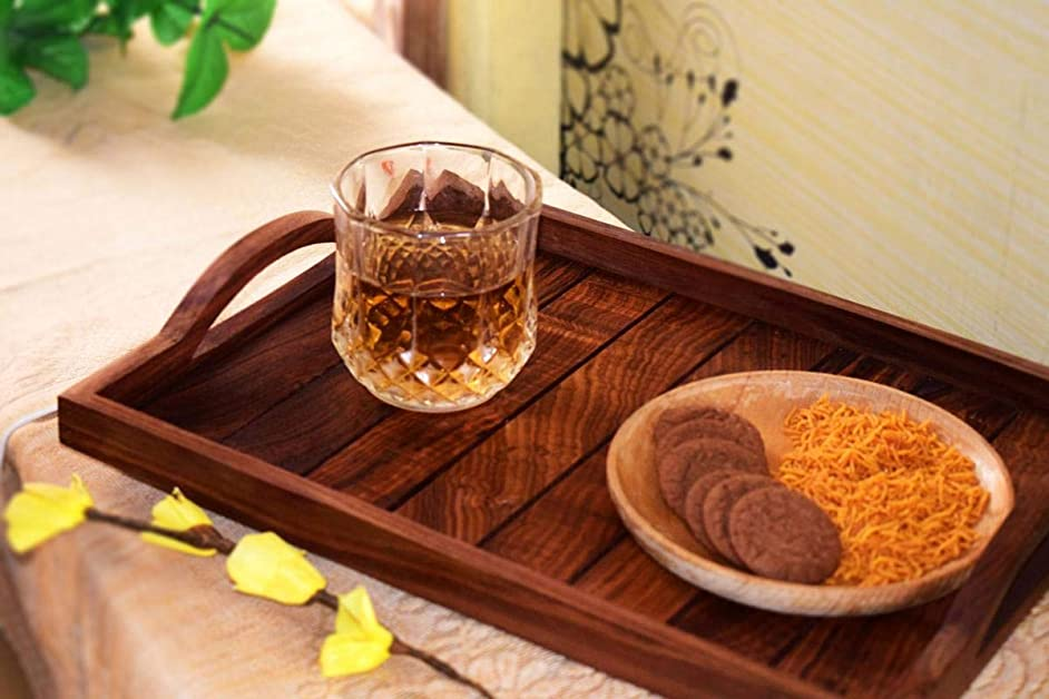 Hashcart Sheesham Wood Serving Tray – Serving Trays with Handles – Wood Serving Coffee Table Set – Multiple