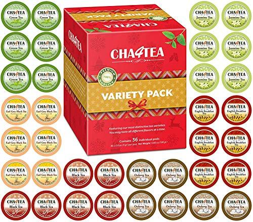 Cha4TEA 36-Count Variety Tea Sampler Pack for Keurig K-Cup Brewers, Multiple Flavors (Green Tea, Black Tea, Jasmine, Earl Grey, Oolong Green Tea, English Breakfast)