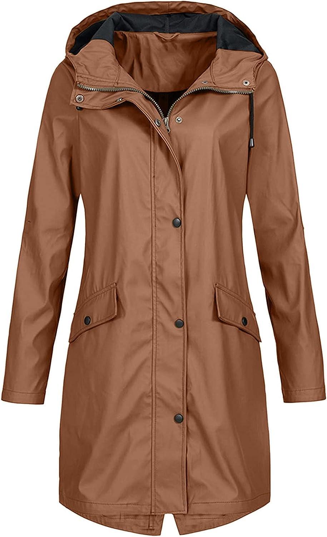 Tantisy Women Basic Waterproof Hooded Raincoat Windproof Loose Overcoat Outwear Open Front Long Jacket Workout Cool Coat