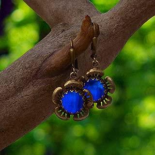 Recycled Vintage 1960's Cobalt Skin Cream Bottles and Antique Brass Flower Leverback Earrings