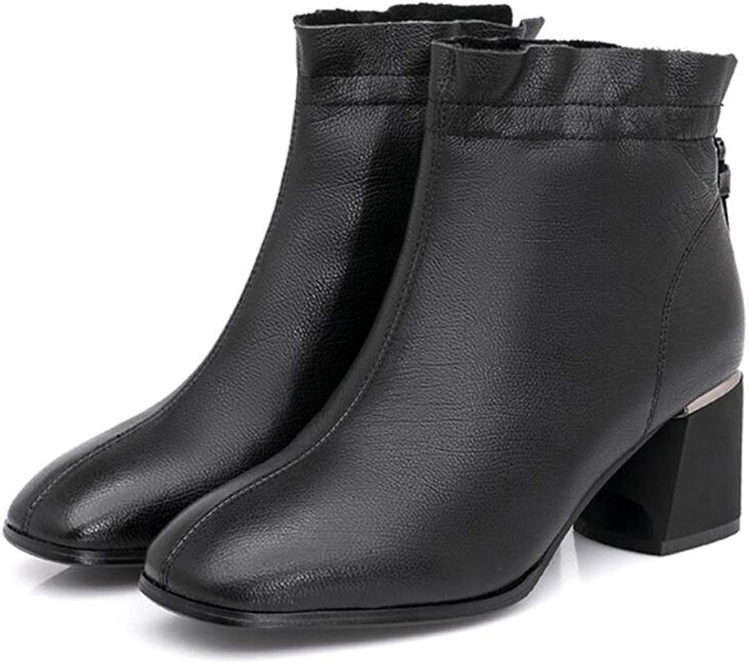 Womens Chelsea Ankle Boots with Zipper Block Heel Ladies British Style Martin Boots