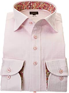 ワイシャツ メンズ STYLE WORKS スタイルワークス 綿 100% ピンク ワイド 長袖 ドレスシャツ カッターシャツ シャツ 柄シャツ 派手シャツ|RWD113-111
