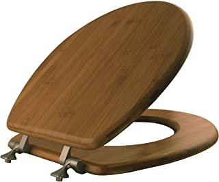 MAYFAIR Solid Bamboo Toilet Seat with Brushed Nickel Hinges, ROUND, 9401NI
