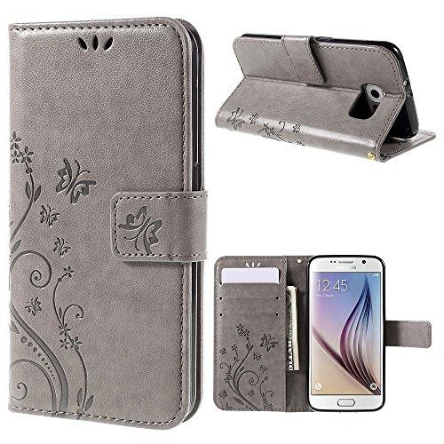 jbTec® Flip Hülle Handy-Hülle passend für Samsung Galaxy S6 / SM-G920F - Book Muster Schmetterlinge S16 - Handy-Tasche Schutz-Hülle Cover Handyhülle Ständer Bookstyle Booklet, Farbe:Grau