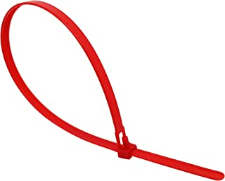 Reusable Cable Ties 200mm x 7.6mm, Releasable Red Heavy Duty Zip Tie 200 mm, Pack of 100 Pieces, intervisio