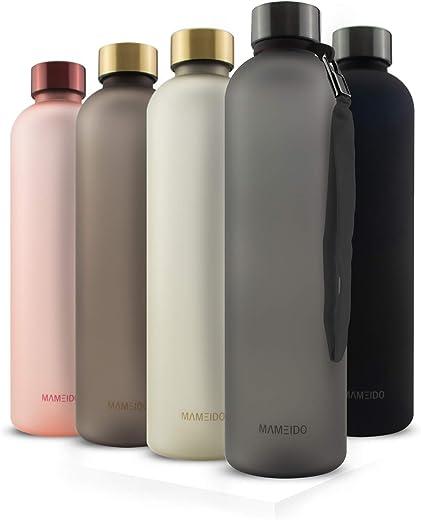 MAMEIDO Trinkflasche 1l – auslaufsicher, Kohlensäure geeignet, BPA frei – Zeitmarkierung als Trinkerinnerung – Wasserflasche aus Tritan für Sport,…