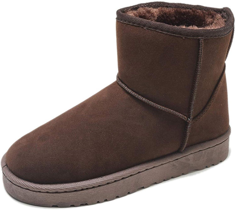 Inlefen Women winter slip on non-slip cotton round toe short snow boots shoes