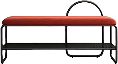Shoe Rack Metal Shoe Storage Bench, Shoe Storage Organizer Storage Shelf with Padded Cushion Seat, for Entryway Hallway Li...