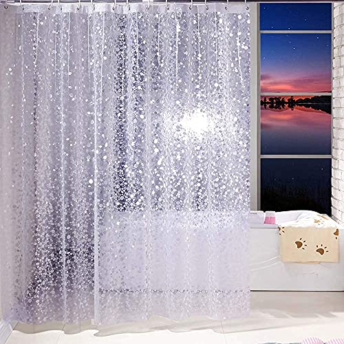 PEVA 3D Pebble Clear Shower Curtain,72 x 72 Inches Bathroom Waterproof Plastic Shower Curtains Liner with 13 Stainless Steel Shower Curtain Rings Hooks for Shower Stall, Bathtubs