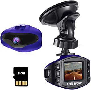 Dash Cam for Cars 1080P FHD Driving Recorder Vehicle Dashboard Camera with Wide Angle 1.5 LCD Screen CMOS Sensor Loop Recording Memory Card Included (Blue)